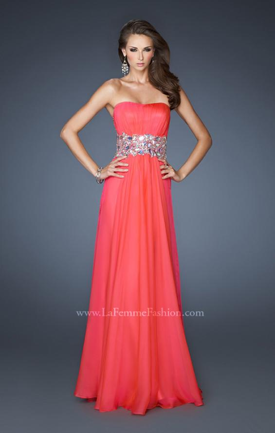 Picture of: Strapless Gown with Dramatic Waist and Rhinestones in Orange, Style: 18123, Main Picture