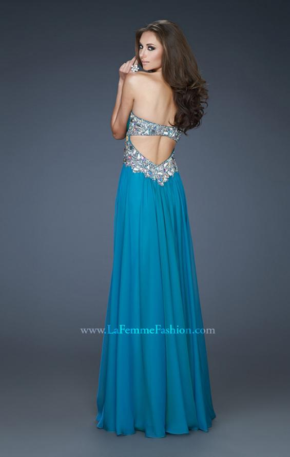 Picture of: Strapless Gown with Dramatic Waist and Rhinestones in Blue, Style: 18123, Back Picture