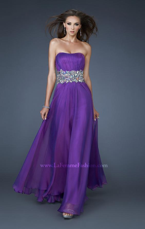 Picture of: Strapless Gown with Dramatic Waist and Rhinestones in Purple, Style: 18123, Detail Picture 1