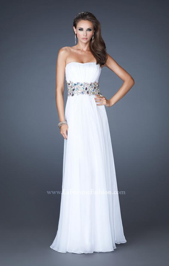 Picture of: Strapless Gown with Dramatic Waist and Rhinestones in White, Style: 18123, Detail Picture 2