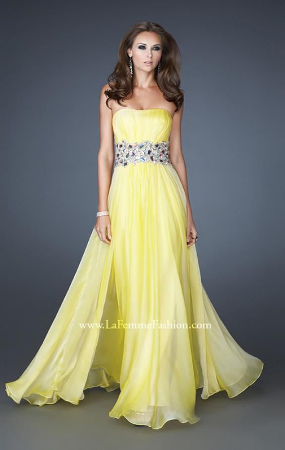 Picture of: Strapless Gown with Dramatic Waist and Rhinestones in Yellow, Style: 18123, Detail Picture 3
