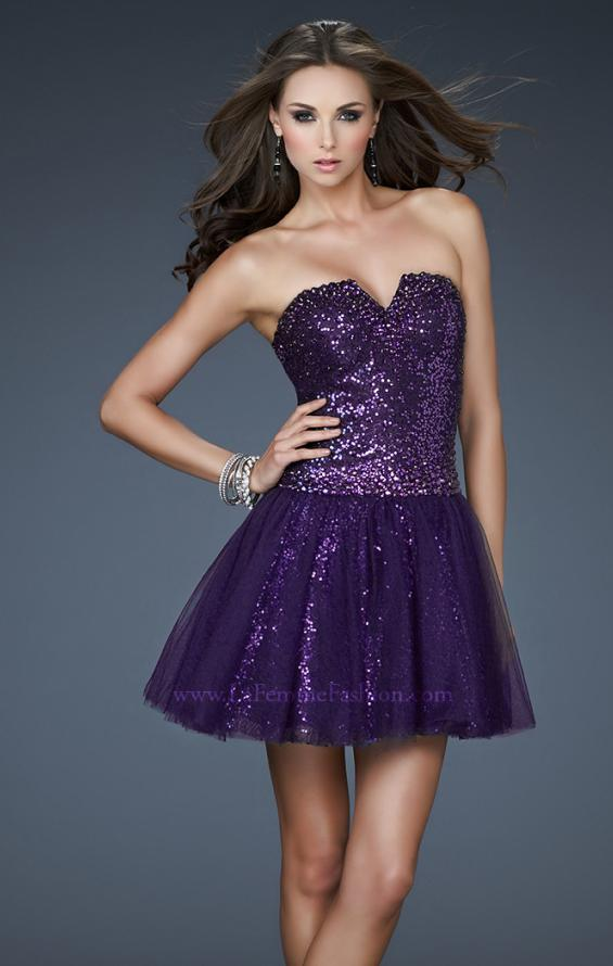 Picture of: Tulle Sequined Cocktail Dress with Edgy V Shaped Front in Purple, Style: 18124, Main Picture