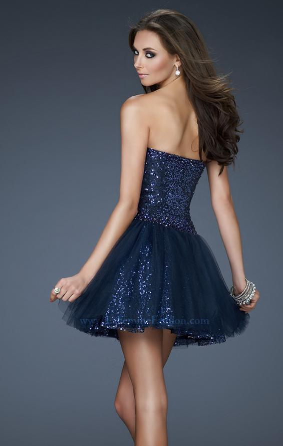 Picture of: Tulle Sequined Cocktail Dress with Edgy V Shaped Front in Blue, Style: 18124, Back Picture
