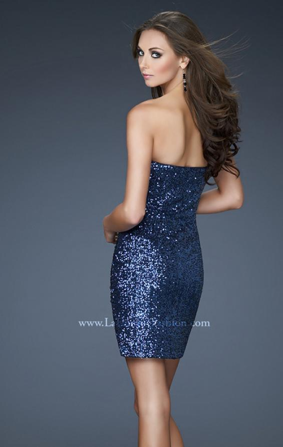 Picture of: Short Sequined Dress with Beading and Fitted Bodice, Style: 18132, Back Picture