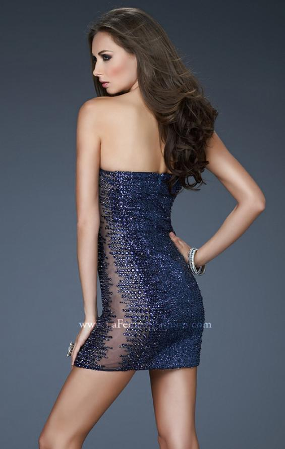 Picture of: Strapless Sequin Cocktail Dress with Illusion Panels, Style: 18137, Back Picture
