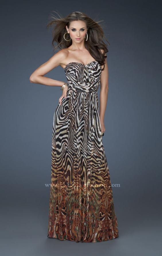 Picture of: Animal Inspired Strapless Gown with High Belted Waist, Style: 18142, Main Picture