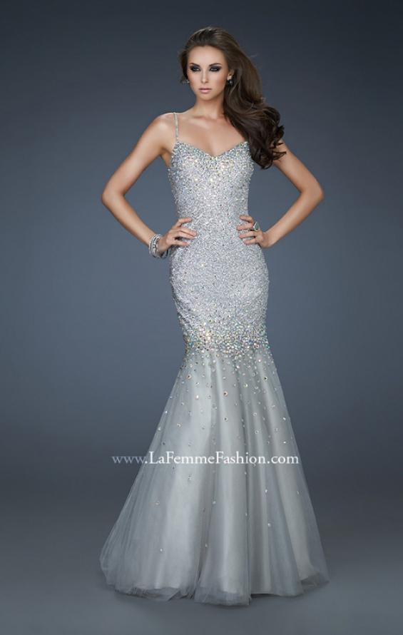 Picture of: Sequined Trumpet Gown with Tulle and Rhinestone Detail, Style: 18156, Main Picture