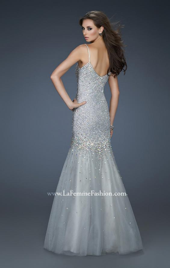 Picture of: Sequined Trumpet Gown with Tulle and Rhinestone Detail, Style: 18156, Back Picture