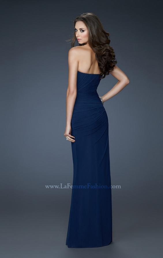 Picture of: Chic Strapless Net Gown with Ruched Top and Gathering in Blue, Style: 18160, Back Picture