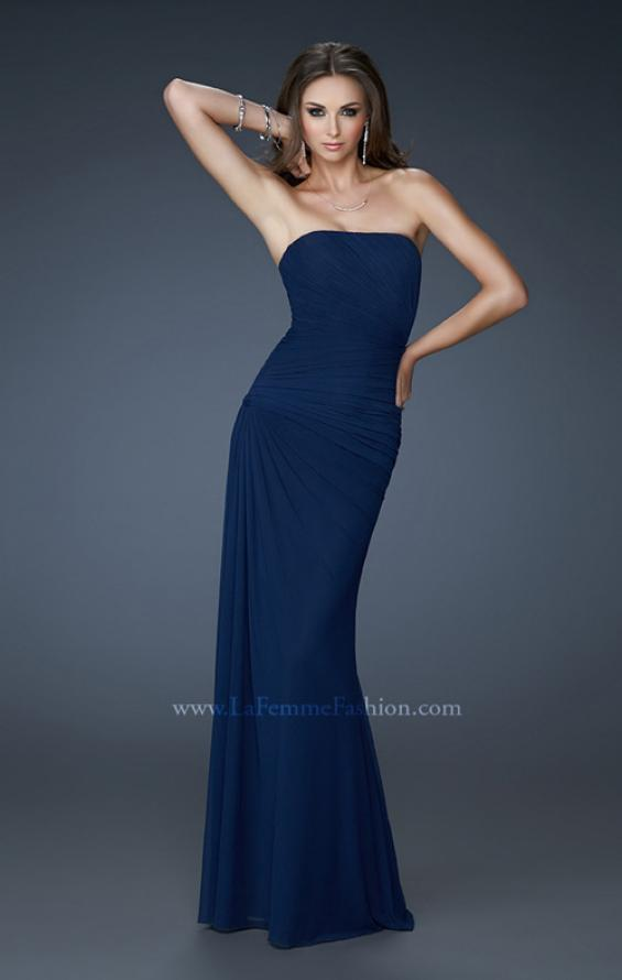 Picture of: Chic Strapless Net Gown with Ruched Top and Gathering in Blue, Style: 18160, Detail Picture 1