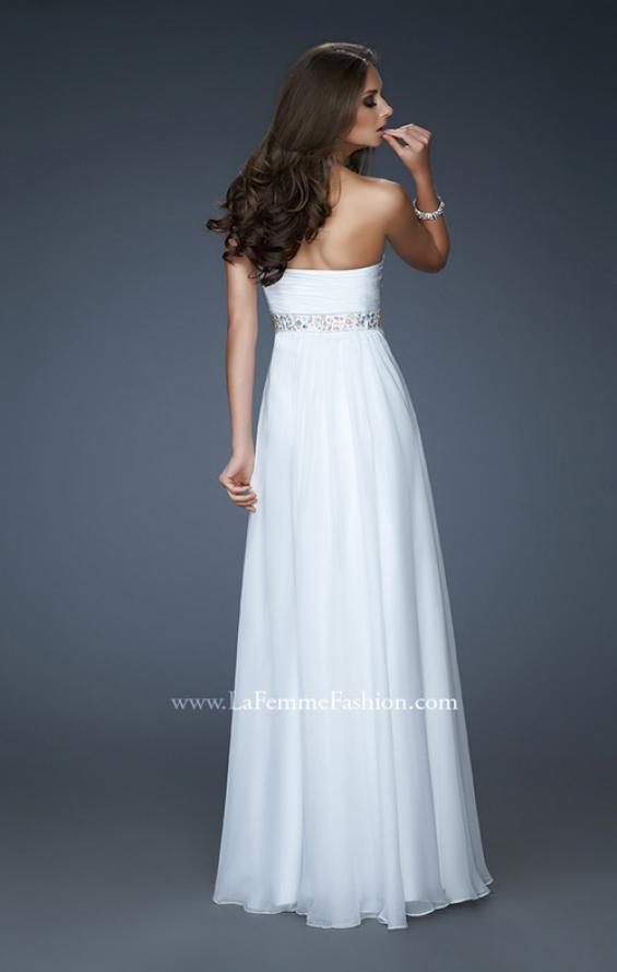 Picture of: Flowing Strapless Gown with Knotted Detail and Jewels, Style: 18172, Back Picture
