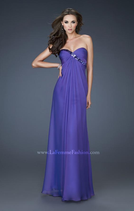 Picture of: Chiffon prom Gown with Gathered Bodice and Stones in Purple, Style: 18186, Main Picture