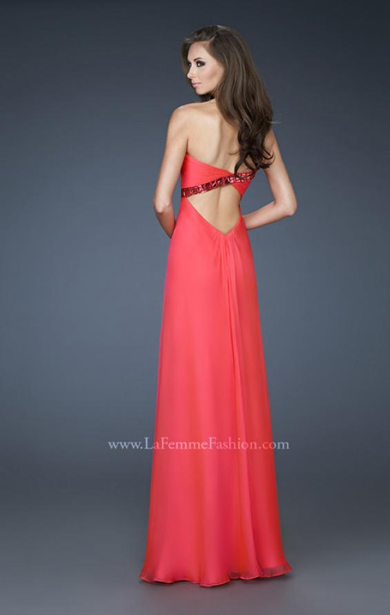 Picture of: Chiffon prom Gown with Gathered Bodice and Stones in Orange, Style: 18186, Back Picture