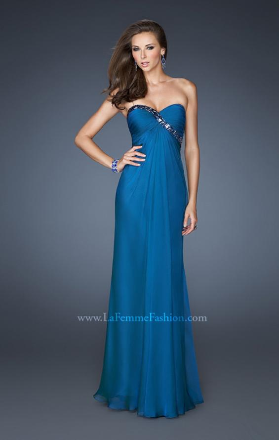 Picture of: Chiffon prom Gown with Gathered Bodice and Stones in Blue, Style: 18186, Detail Picture 2