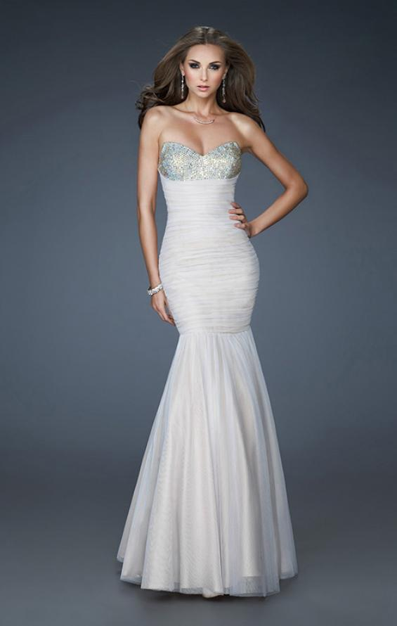 Picture of: A-line Chiffon Gown with Beaded Shoulder and Ruching, Style: 18191, Main Picture
