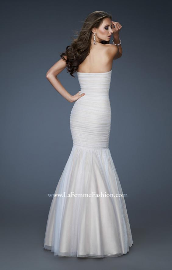 Picture of: A-line Chiffon Gown with Beaded Shoulder and Ruching, Style: 18191, Back Picture