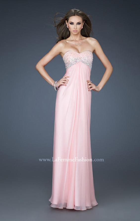Picture of: Long Chiffon Dress with Sequin Bodice and Empire Waist in Pink, Style: 18198, Main Picture