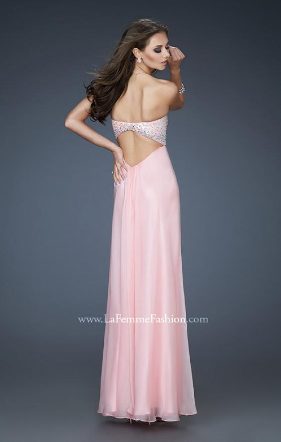 Picture of: Long Chiffon Dress with Sequin Bodice and Empire Waist in Pink, Style: 18198, Back Picture