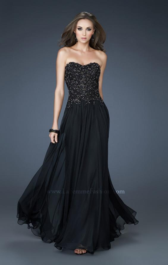 Picture of: Strapless Evening Gown with Bead Encrusted Bodice in Black, Style: 18199, Main Picture