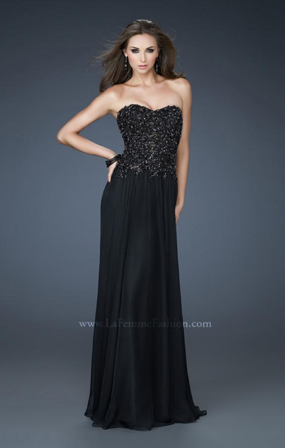 Picture of: Strapless Evening Gown with Bead Encrusted Bodice in Black, Style: 18199, Detail Picture 1