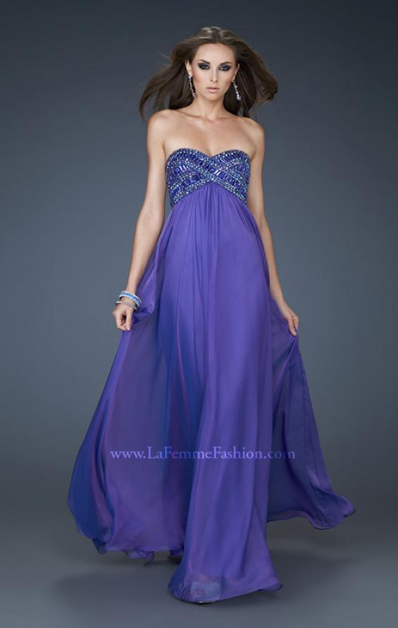 Picture of: Embellished Chiffon Prom Gown with Intricate Beading in Purple, Style: 18216, Main Picture