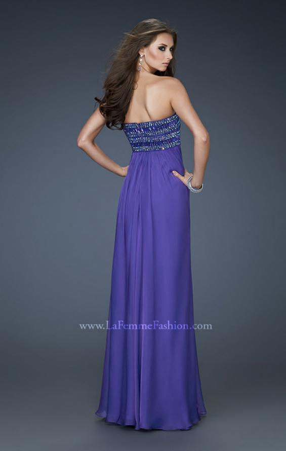 Picture of: Embellished Chiffon Prom Gown with Intricate Beading in Purple, Style: 18216, Back Picture