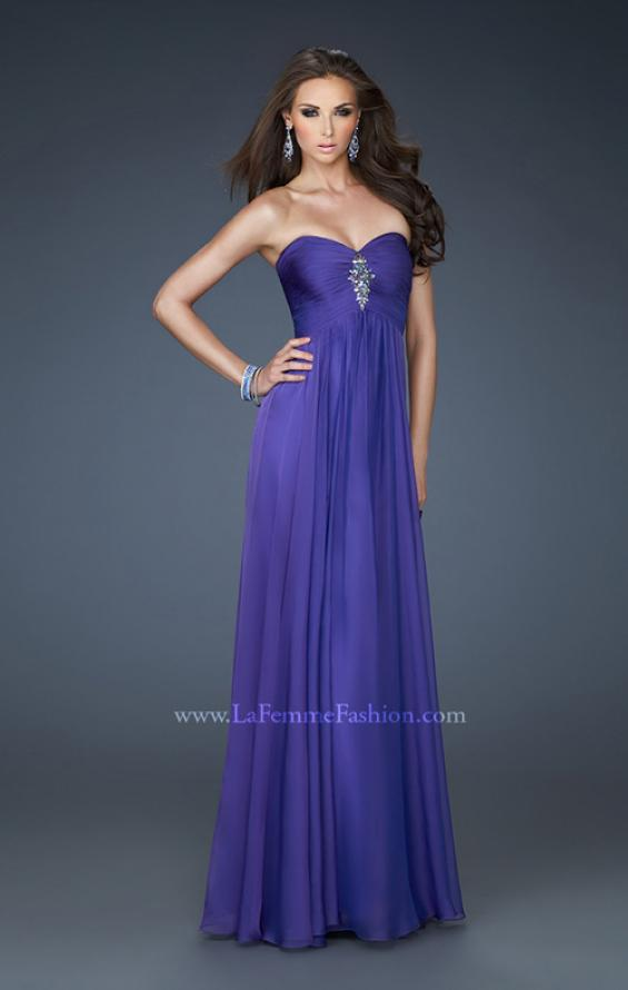 Picture of: Chiffon Gown with Sweetheart Neckline and Beading in Purple, Style: 18219, Main Picture