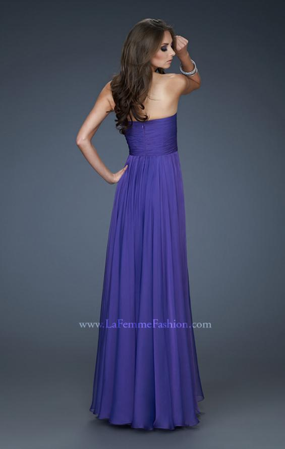 Picture of: Chiffon Gown with Sweetheart Neckline and Beading in Purple, Style: 18219, Back Picture