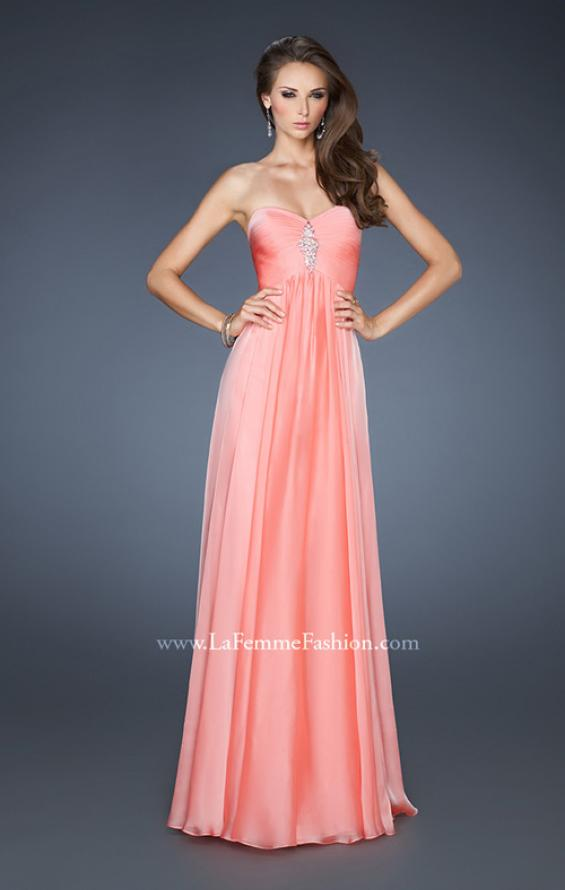 Picture of: Chiffon Gown with Sweetheart Neckline and Beading in Orange, Style: 18219, Detail Picture 1