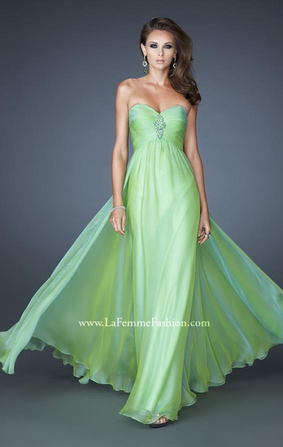 Picture of: Chiffon Gown with Sweetheart Neckline and Beading in Green, Style: 18219, Detail Picture 2