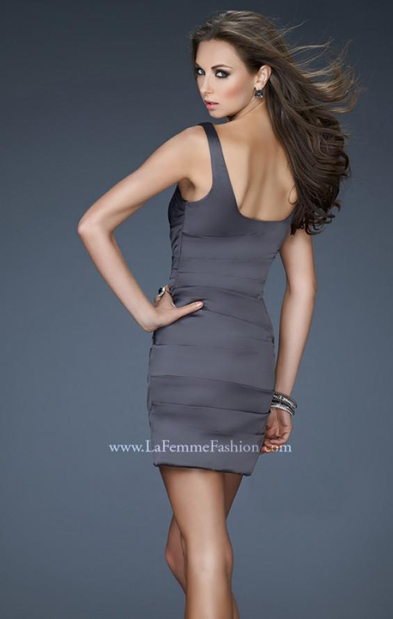 Picture of: Fitted Satin Short Dress with Rhinestones and Gathering, Style: 18236, Back Picture