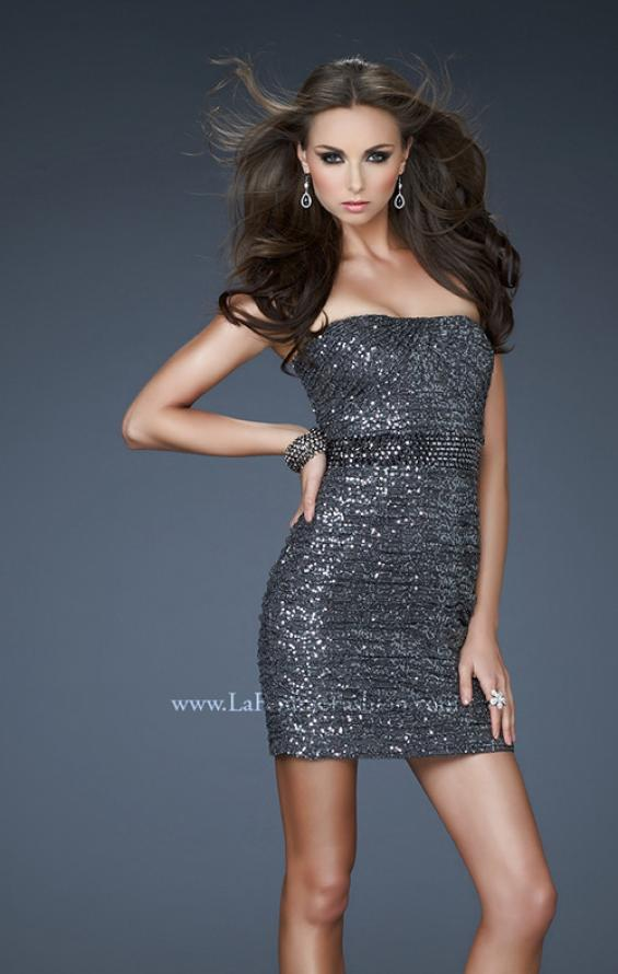 Picture of: Strapless Sequined Mini Dress with Beaded Belt in Silver, Style: 18240, Main Picture