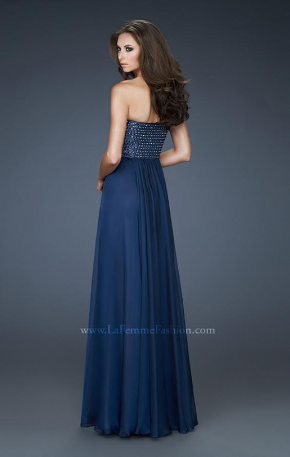 Picture of: Strapless Chiffon Gown with Sequined Bodice and Stones in Blue, Style: 18262, Back Picture
