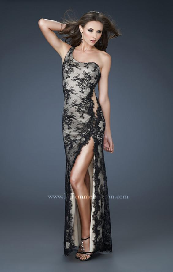 Picture of: Sexy Lace Gown with High Slit and Scalloped Hem, Style: 18263, Main Picture