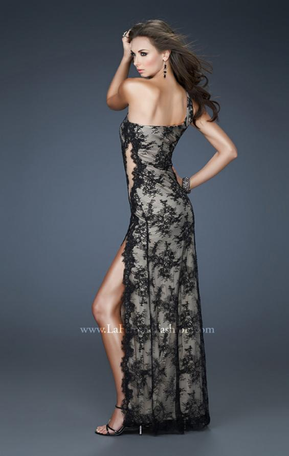 Picture of: Sexy Lace Gown with High Slit and Scalloped Hem, Style: 18263, Back Picture