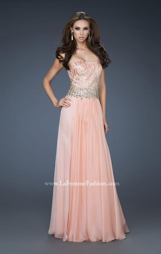 Picture of: Strapless Chiffon Gown with Beaded Bodice and Rhinestones, Style: 18273, Main Picture