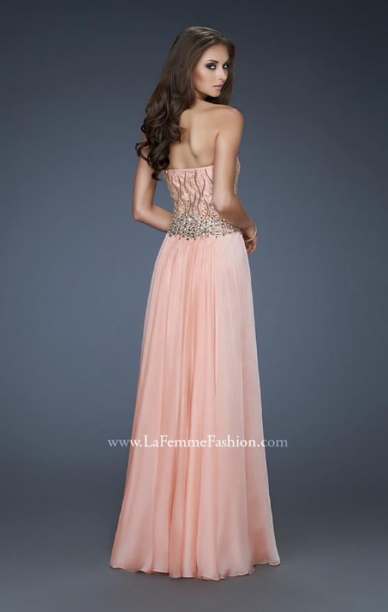 Picture of: Strapless Chiffon Gown with Beaded Bodice and Rhinestones, Style: 18273, Back Picture