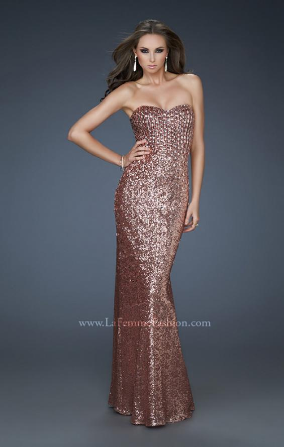 Picture of: Sequined Prom Gown with Sweetheart Neckline in Brown, Style: 18278, Main Picture