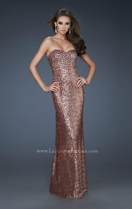 Picture of: Sequined Prom Gown with Sweetheart Neckline in Brown, Style: 18278, Detail Picture 1