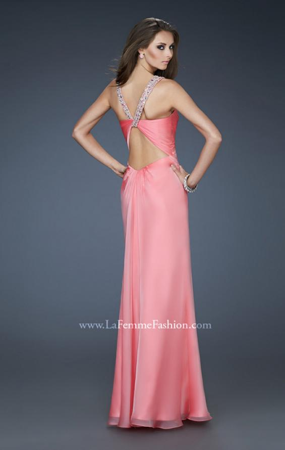 Picture of: Chic Chiffon Gown with Ruched Bodice and Open V Back in Pink, Style: 18280, Back Picture