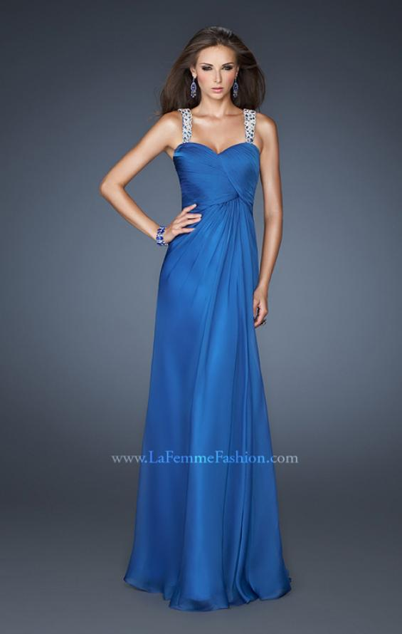 Picture of: Chic Chiffon Gown with Ruched Bodice and Open V Back in Blue, Style: 18280, Detail Picture 1