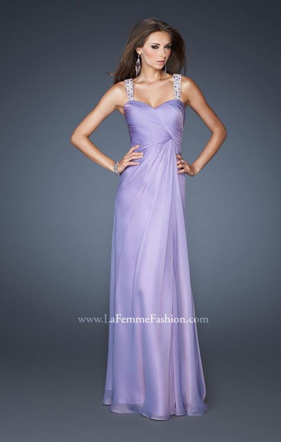Picture of: Chic Chiffon Gown with Ruched Bodice and Open V Back in Purple, Style: 18280, Detail Picture 2