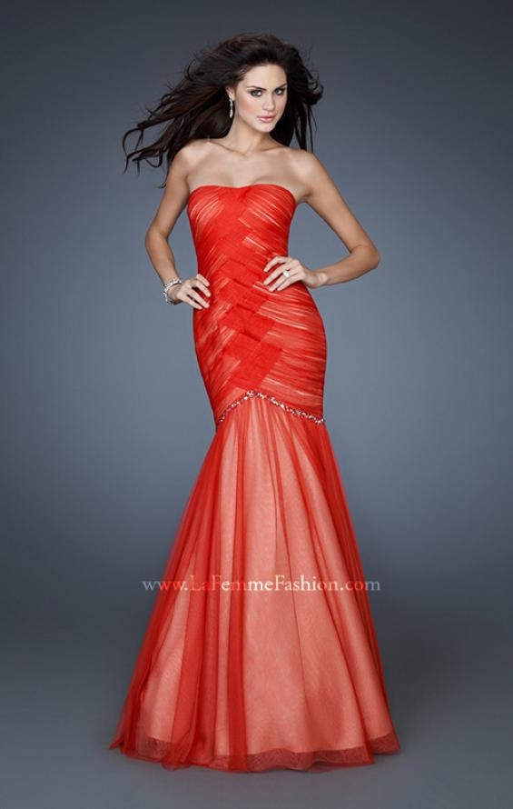 Picture of: Strapless Net Dress with Criss Cross Ruching and Stones in Orange, Style: 18282, Main Picture
