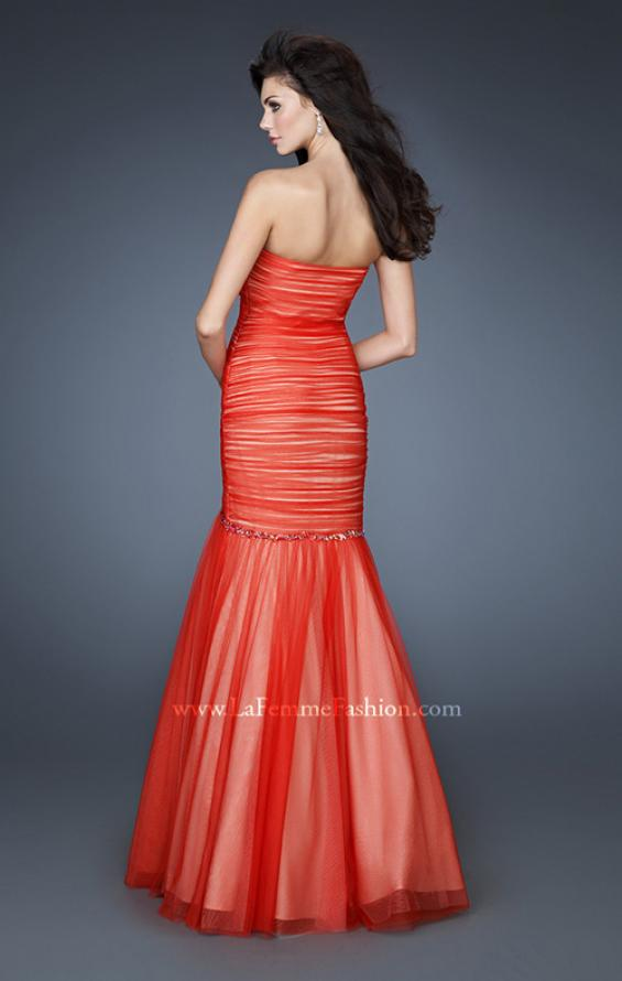 Picture of: Strapless Net Dress with Criss Cross Ruching and Stones in Orange, Style: 18282, Back Picture