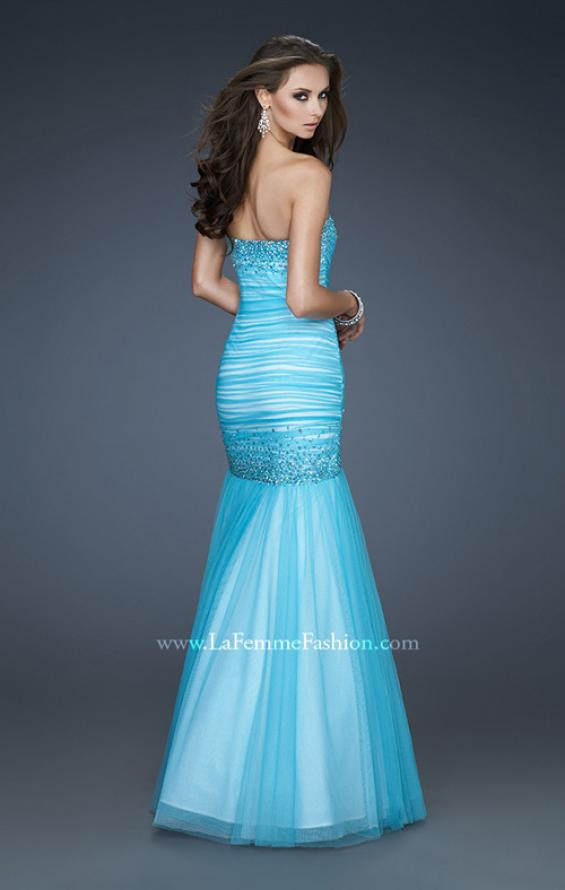 Picture of: Sweetheart Neckline Net Prom Gown with Trumpet Skirt, Style: 18286, Back Picture