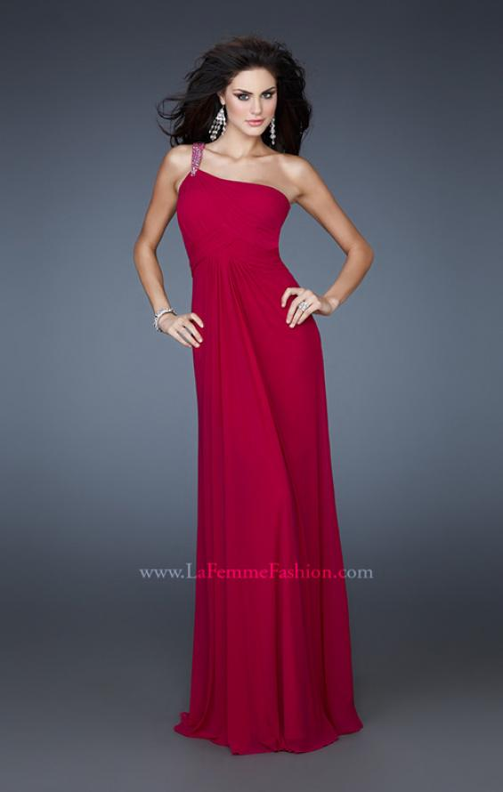 Picture of: One Shoulder Net Gown with Beaded Straps and Cut Outs, Style: 18288, Main Picture