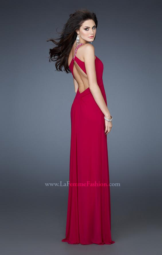 Picture of: One Shoulder Net Gown with Beaded Straps and Cut Outs, Style: 18288, Back Picture