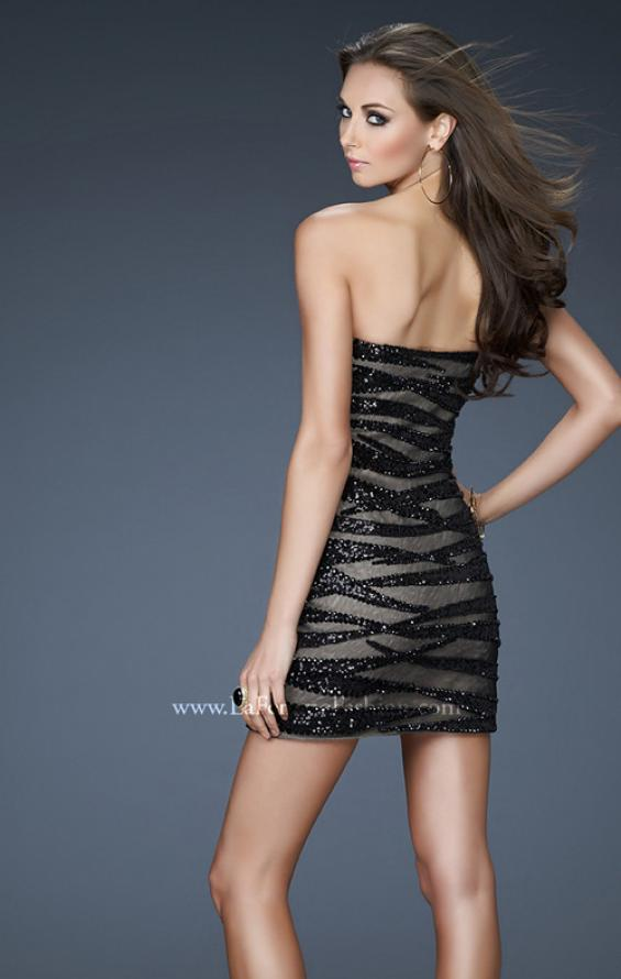 Picture of: Strapless Mini Dress with Sequins and Beading, Style: 18296, Back Picture