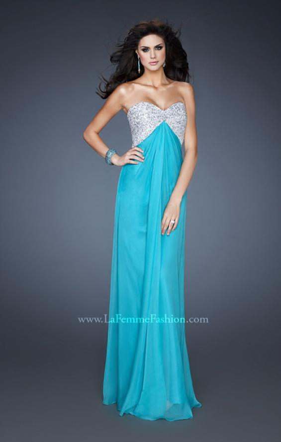 Picture of: Sequined Bodice Prom Dress with Cut Out Back in Blue, Style: 18313, Detail Picture 1