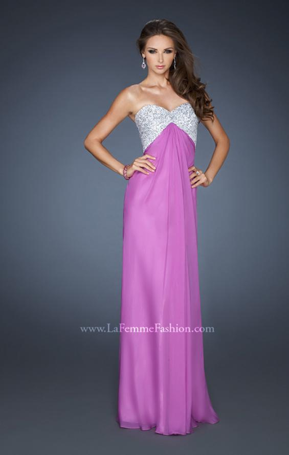 Picture of: Sequined Bodice Prom Dress with Cut Out Back in Purple, Style: 18313, Detail Picture 2